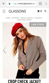 Glass ons plaid cropped jacket
