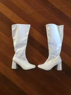 White knee high gogo boots
