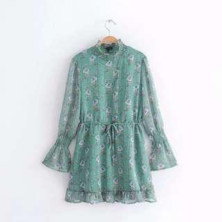 🔥2018 Long Sleeve Trumpet Lace Print Dress