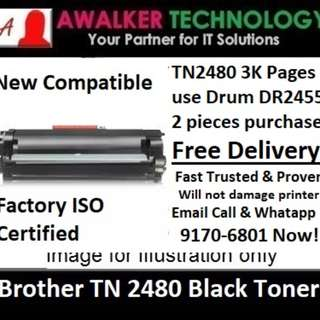 Brother TN2480 Black Toner 3,000 Pages Compatible will not damager printer Warranty 12 months Delivery 1 to 3 Business Day Trusted Products! DCP-L2535DW,DCP-2550DW, Hl-2375DW, MFC-L2715DW, MFC-L2750DW