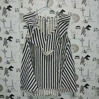 Korean striped frill top