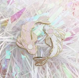 Pink/White Koi - Hard enamel lapel pin set