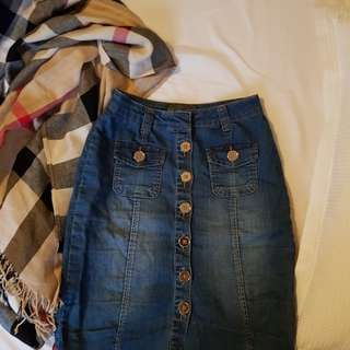 Forever New button down denim skirt