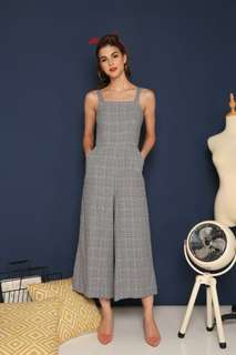 tsw leigh plaid jumpsuit in grey