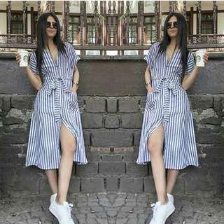 🐋Stripes  dress button down( out of stock)