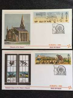 Isle of Man 1983 Europa 2x FDCs stamps