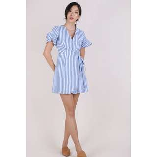 TTR Paulina Wrap Front Dress, Blue Stripes