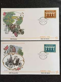 Isle of Man 1984 Europa 2x FDCs stamps
