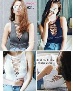 Lace up knit top