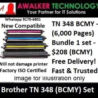 Brother TN348 Black Cyan Magenta & Yellow (BCMY) 6,000 pages Compatible will not damage printer Warranty 12 months Delivery 1 to 3 Business Day Trusted Products! HL-4150CDN,  HL-4570CDW,  MFC-9970CDW