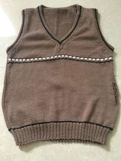 Brown Knitted Vest for Boys