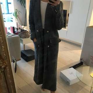 Zara maxi military wool grey coat