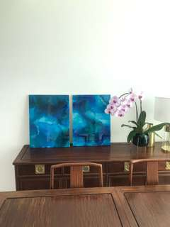 2 Abstract Resin Paintings on Wooden Frame