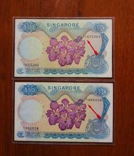 Sg $50 A1 Orchid 2 pcs lot