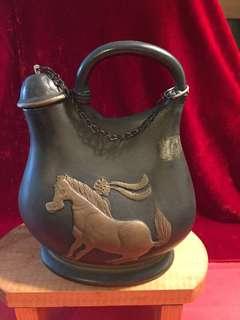 不常見(古銅色陶瓷)舊酒壼:如相片所示
