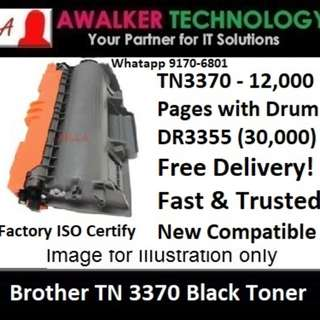 Brother TN3370 Black Toner 12,000 Pages Compatible will not damage printer Warranty 12 months Delivery - 1 to 3 Business Day Trusted Products! HL-6180DW, MFC-8910DW
