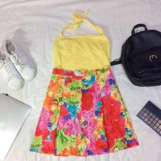 Korean Fashion Yellow Floral Set