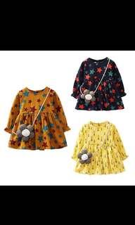 外貿款純棉造型洋裝(附背帶小花)