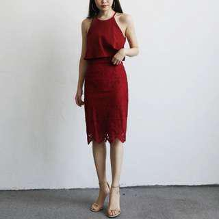 Lace dress Maroon Red