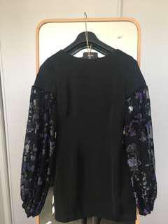 Asilio black mini dress with sleeves