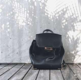 Alexander Wang black leather prisma backpack