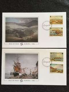 Isle of Man 1986 Europa 2x FDCs stamps