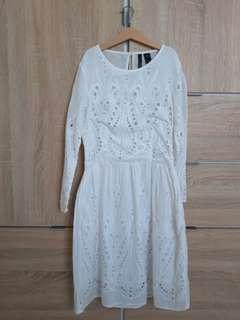 Mango white embroidery dress
