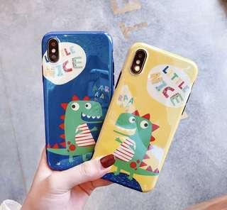 藍光卡通恐龍iPhone Case
