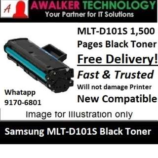 Samsung MLT-D101S Black Toner 1,500 Pages Compatible will not damage Printer Warranty 12 months Delivery 1 to 3 Business Day Trusted Producted! Recommended by Past Users.