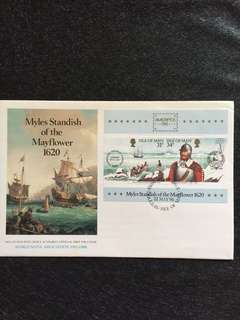 Isle of Man 1986 Myles Standish S/Sheet FDC stamps
