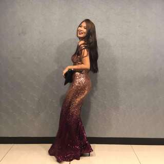 Dazzling Ombre Gown for Rent (Maroon-Gold)