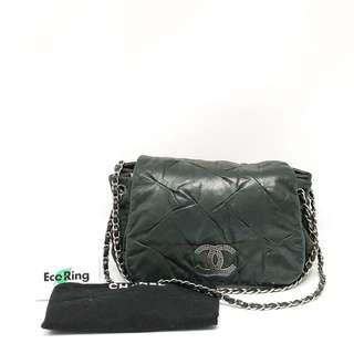 Chanel Chain Glitter Coated Leather Gray Black Shoulder Bag 灰黑 單肩包 100%真品