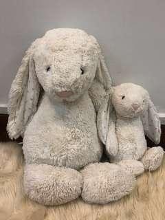 🚚 BOTH Jellycat bunny milk white cream twinkle gold stars plushie soft toy