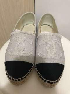 Chanel 米白 麻布 草鞋 漁夫鞋 鞋