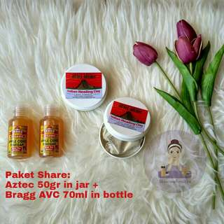 (Share) Aztec Secret Indian Healing Clay + Bragg Apple Vider Vinegar, Paket Aztec + Cuka Apel