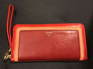 Brand new red leather Fossil zip clutch