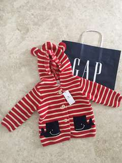 BN Baby Gap Whale Knit Jacket/Sweater with Bear Ear Hoodie