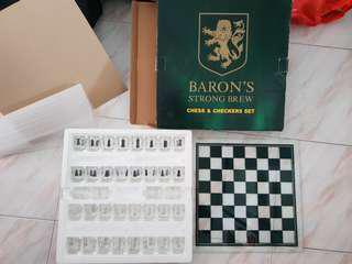 Baron glass chess set with shot glasses