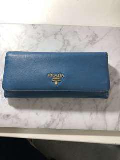 PRADA Saffiano Leather Wallet - Cobalt