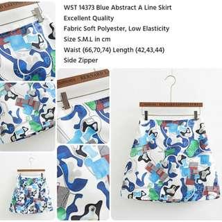 Tzar - Blue Abstract A Line Skirt