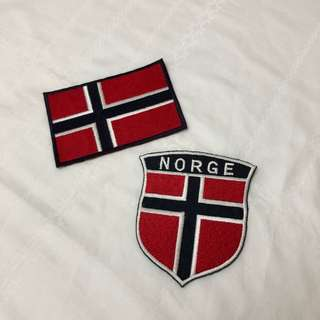 Norway Flag Iron On Embroidered Patch