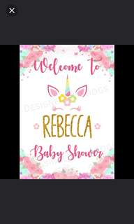 welcome poster/baby shower/birhtday/wedding