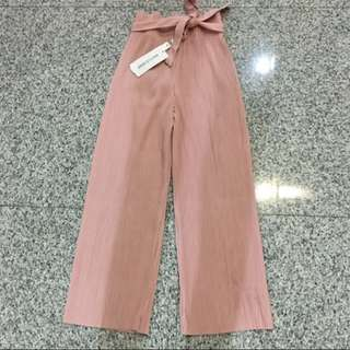 Accordion To Pleats Palazzo Culottes Pants in Dusty Pink