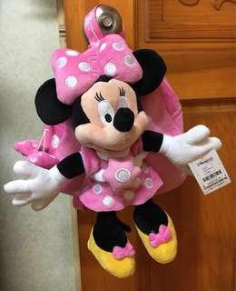 正版 香港迪士尼 米妮Minnie 絨毛玩偶後背包 禮物/ 玩偶可拆(現貨 粉色款)送限定版外袋