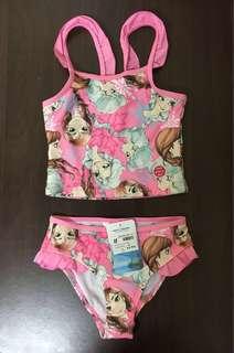 歐美正版 迪士尼冰雪奇緣泳衣二件組套裝女童分體式泳衣游泳泡湯 低價售出 無吊牌