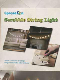 Scrabble string lights