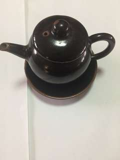 日本小茶壺連小壺托