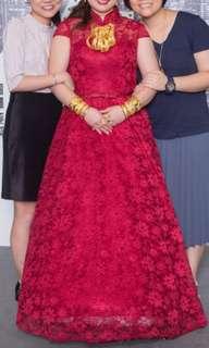 婚後物資 棗紅色敬酒裙