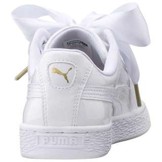 Authentic Puma Basket Heart Patent in White with Satin Ribbon and Normal Shoelace
