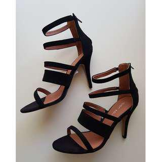 Sandal Heels - Suede Leather - Black